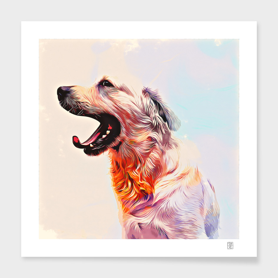 dog painting in watercolor