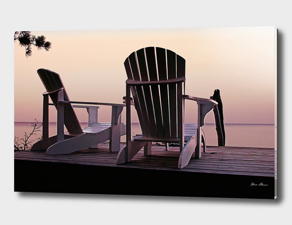 Adirondack Chairs Dockside at Lavender Haze Twilight