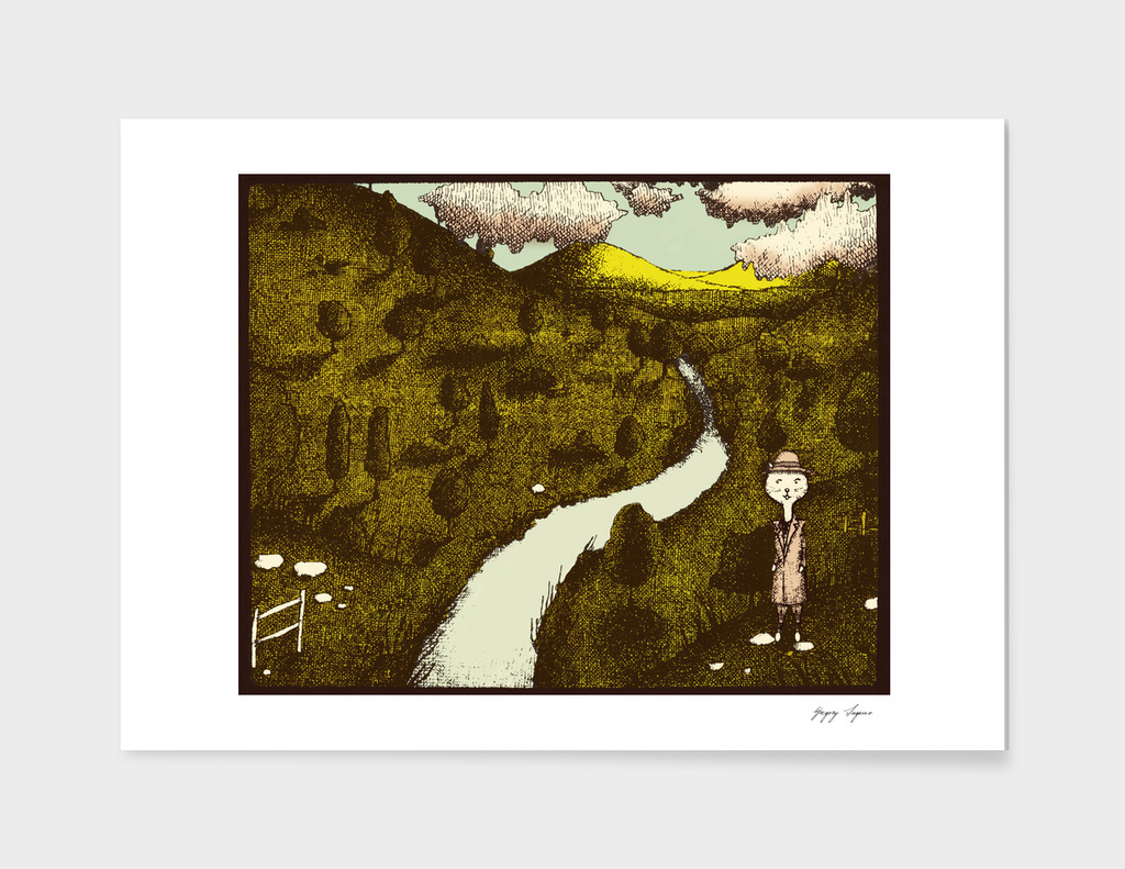Cabbit Valley Limited Eggplant Edition Print by The Soogie