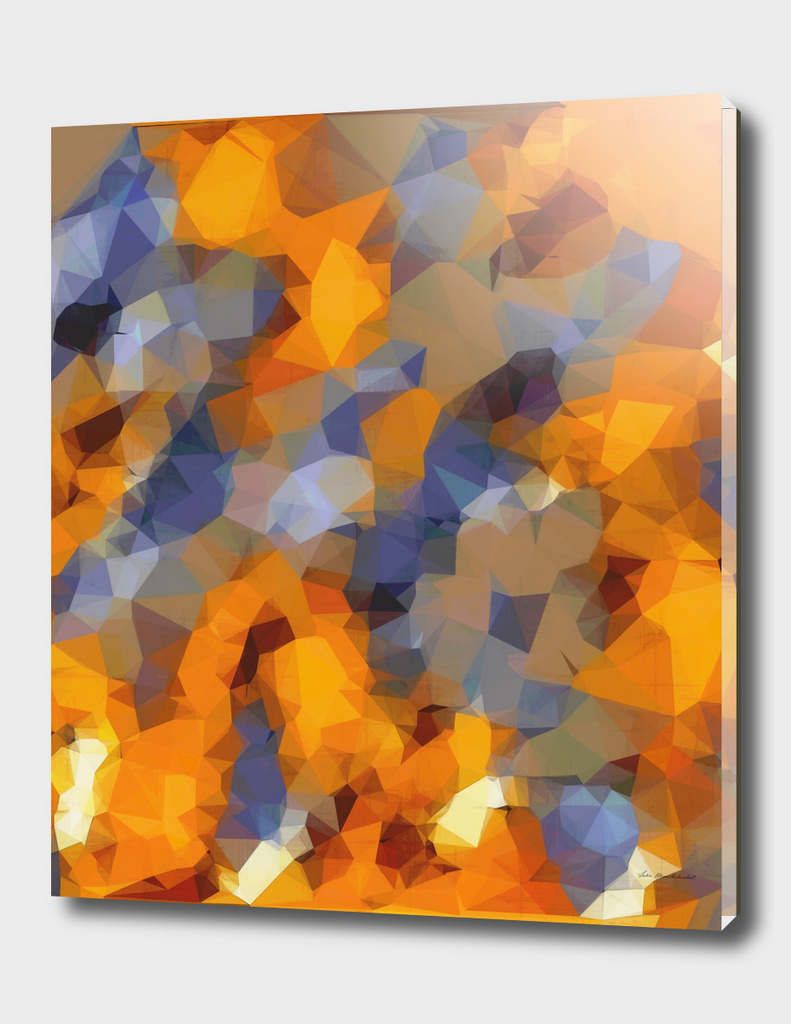 psychedelic geometric polygon pattern in orange brown blue