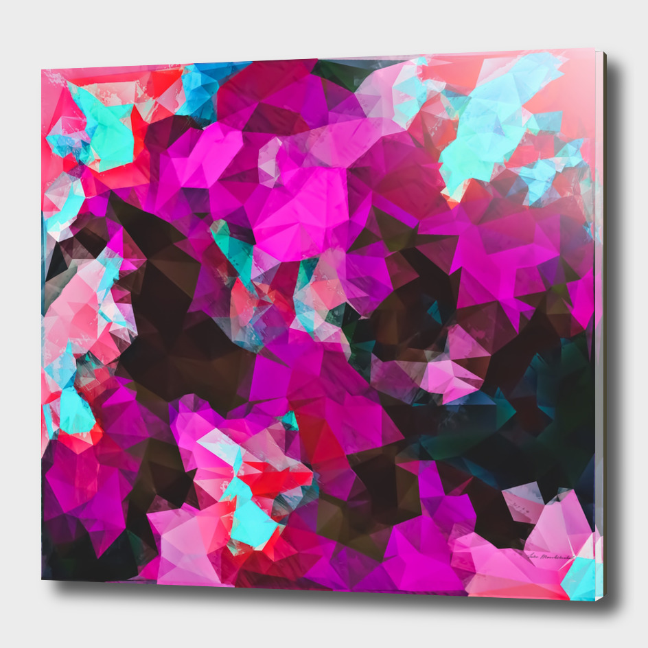 psychedelic geometric polygon abstract in purple pink