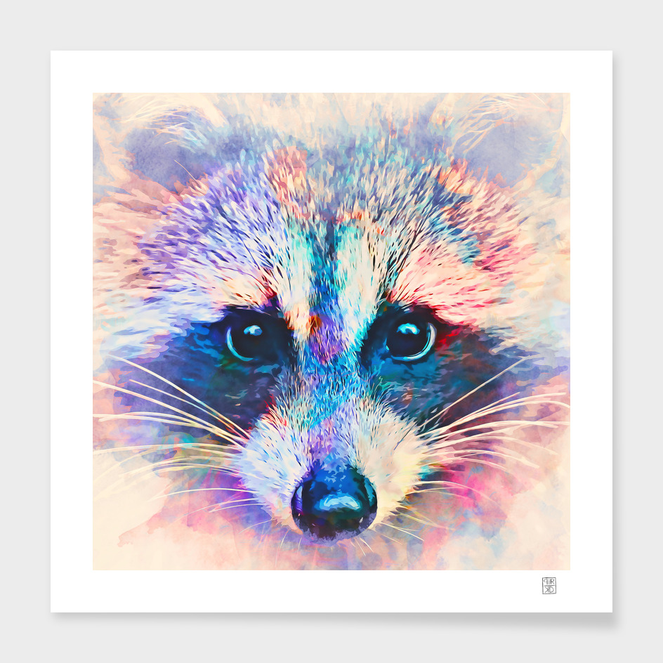 Cute raccoon in watercolor