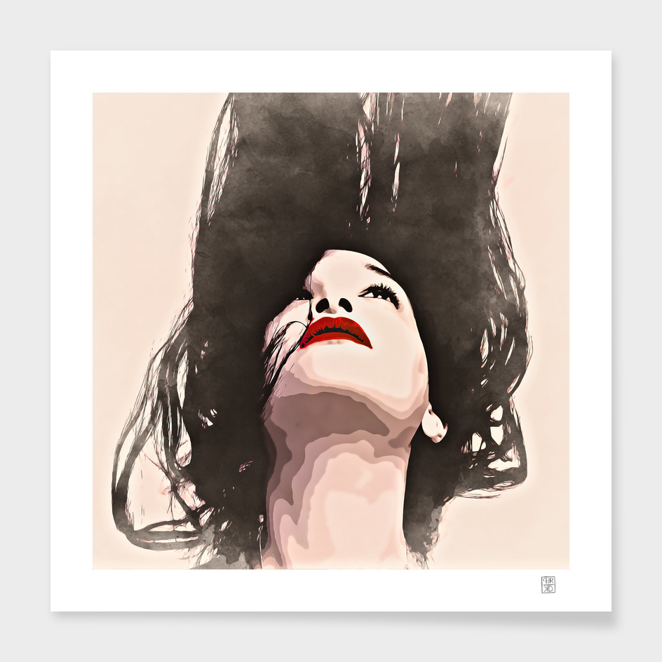 Woman upside down - painting in watercolor