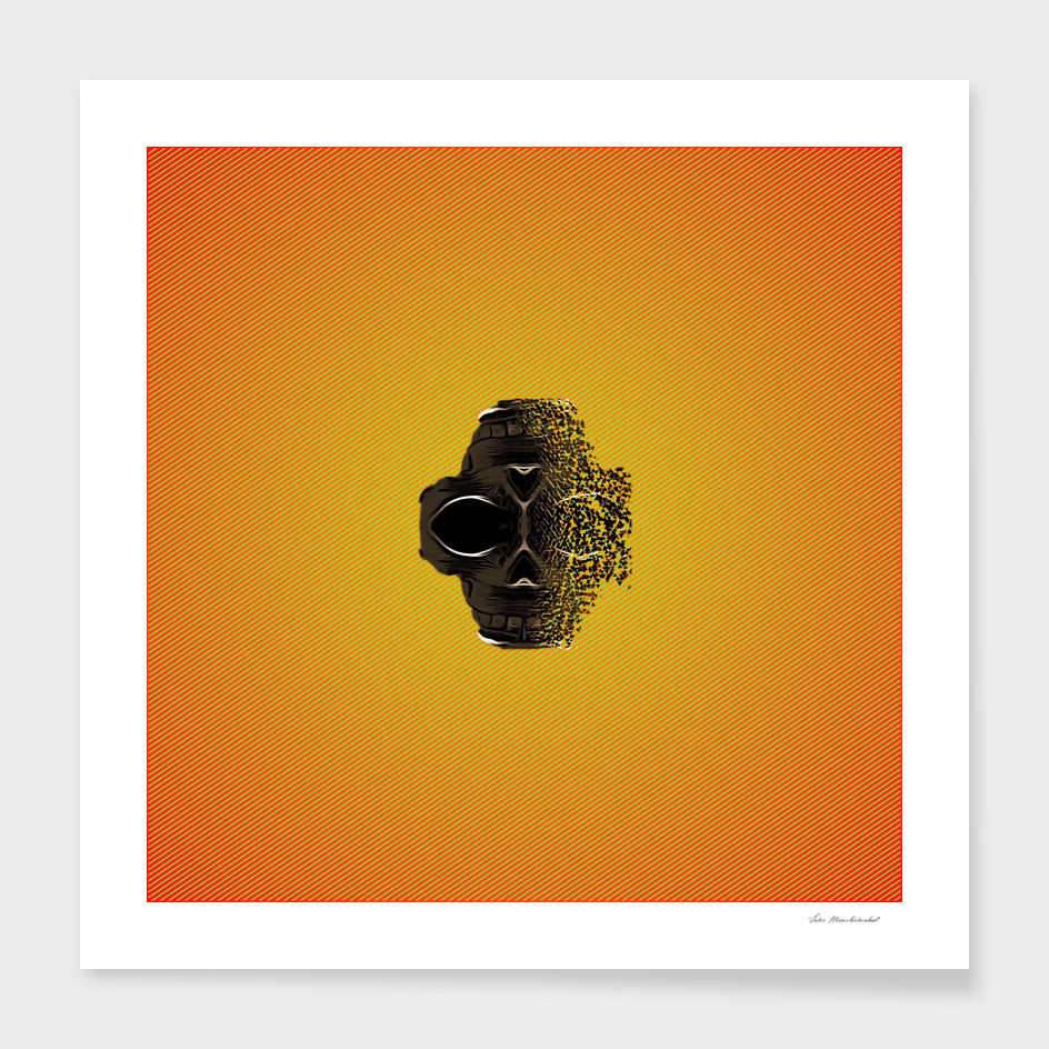fractal black skull portrait with orange abstract background