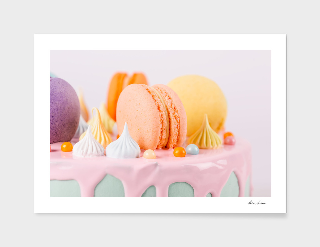 Colorful Macaron Birthday Cake And Sweet Candy Topping