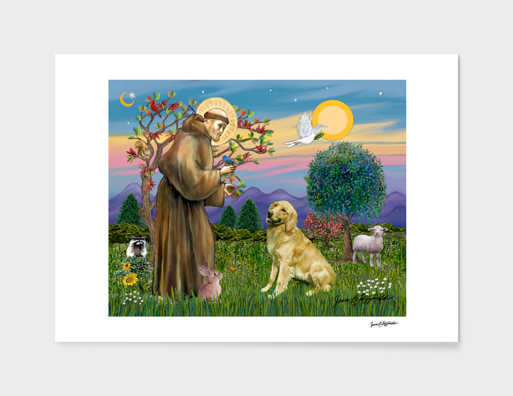 Saint Francis Blesses a Golden Retriever