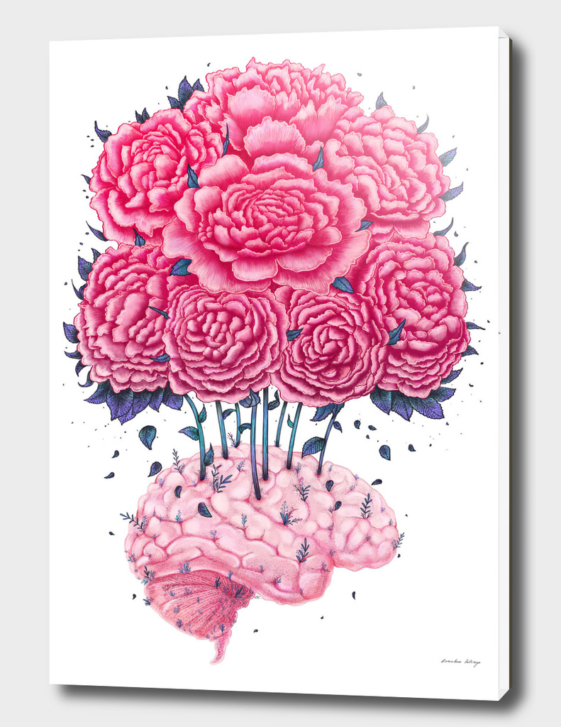 Creative Brain with peonies