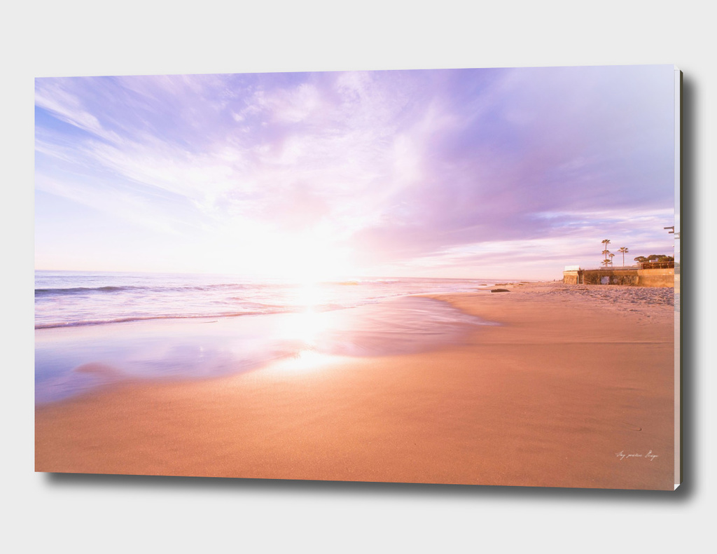 Sunset Beach Scene, Summertime, Pastel Sky