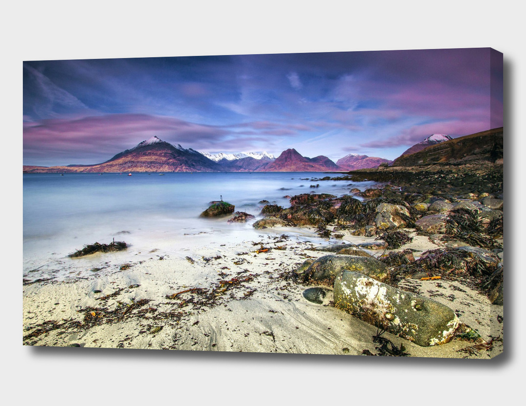 Beach Scene - Mountains, Water, Rocks - Isle of Skye, UK