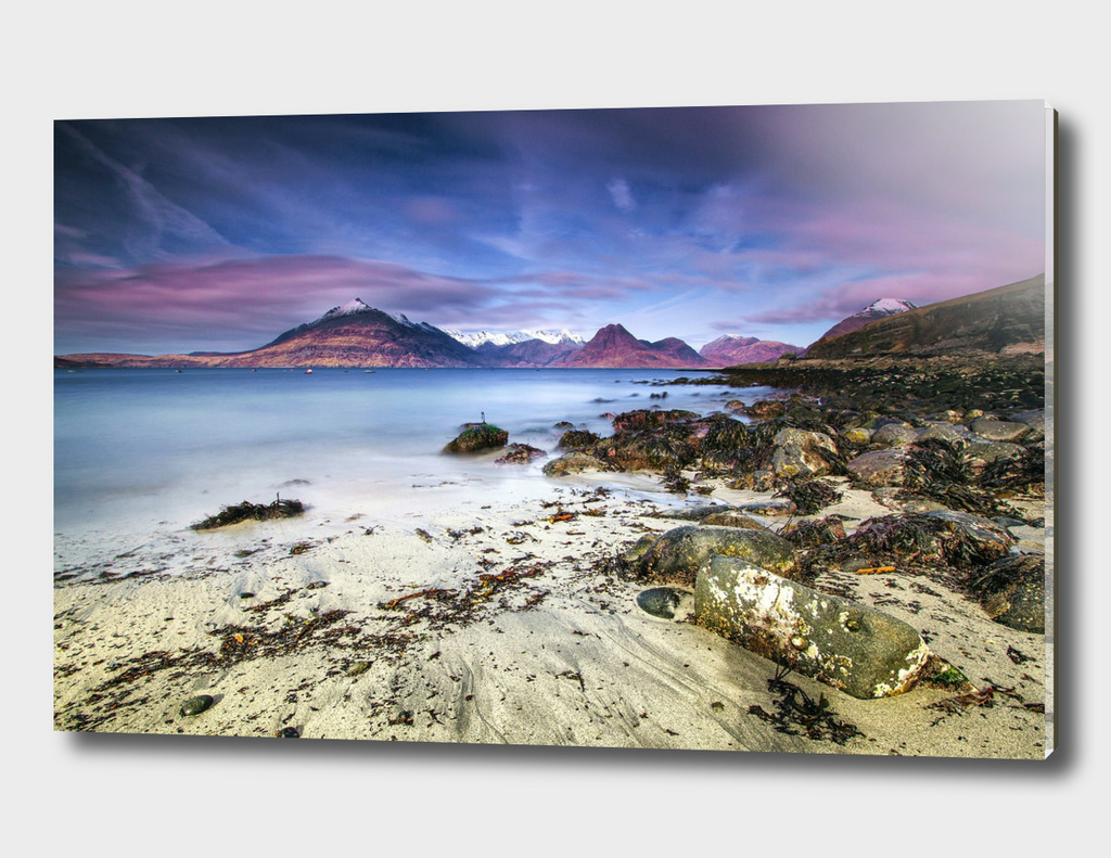 Beach Scene - Mountains, Water, Rocks - Isle of Skye, UK