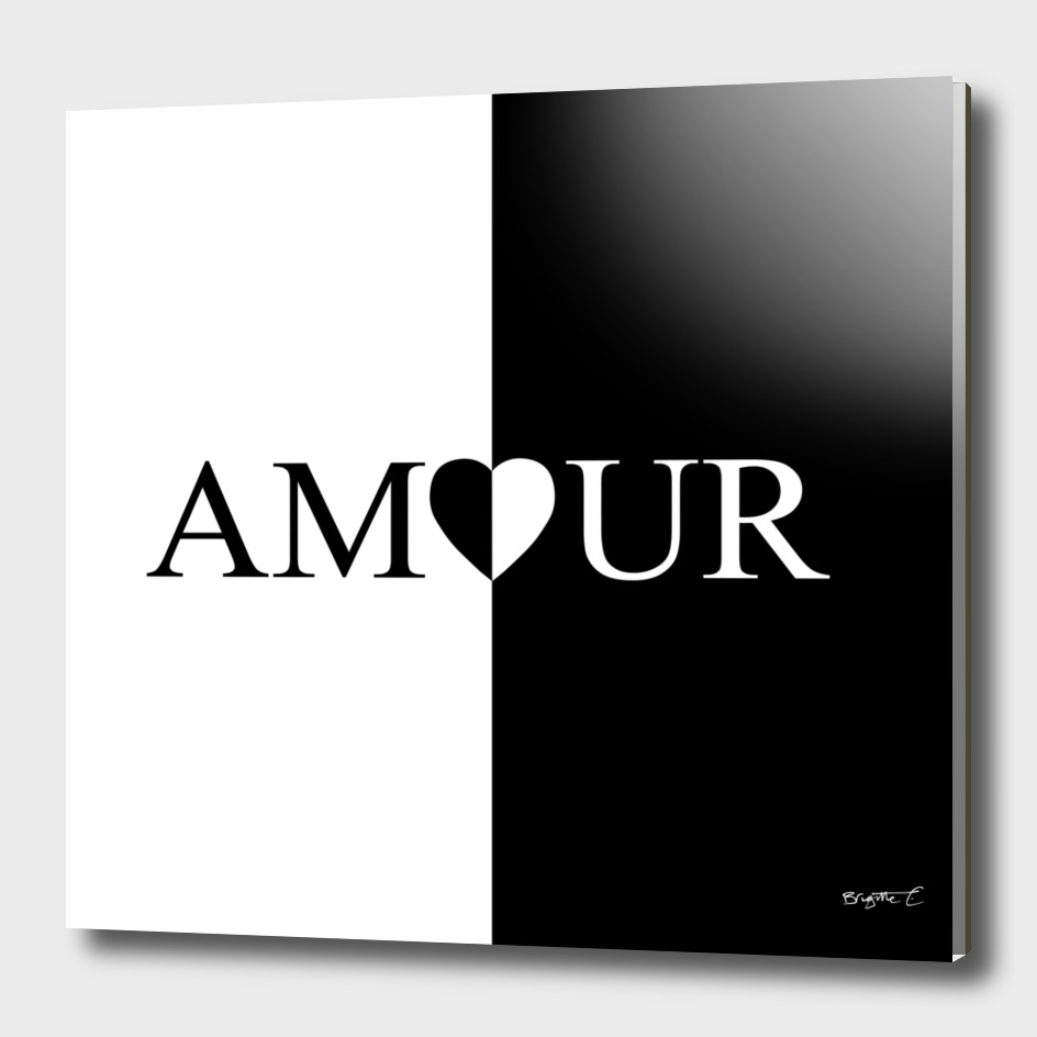 Chic AMOUR Heart Black And White Design
