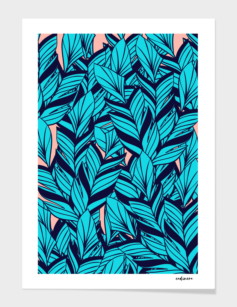 Blue Banana Leaf Pattern