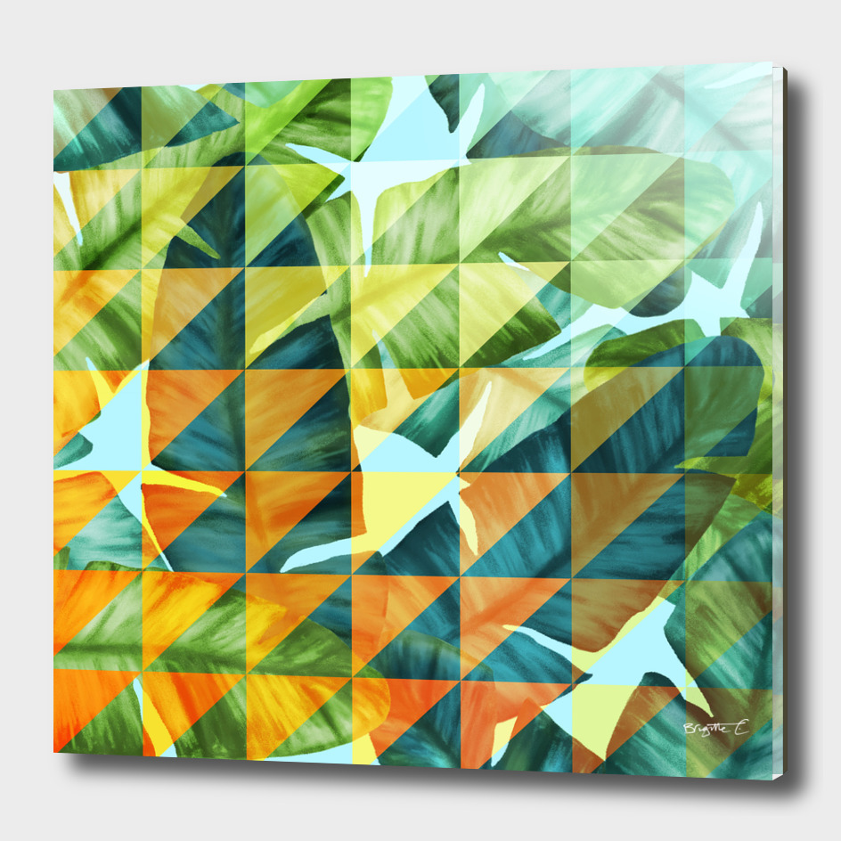 Abstract Geometric Tropical Banana Leaves Pattern