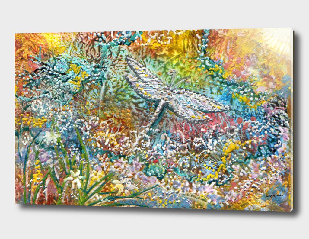 Silver Dragonfly in an Autumn Garden