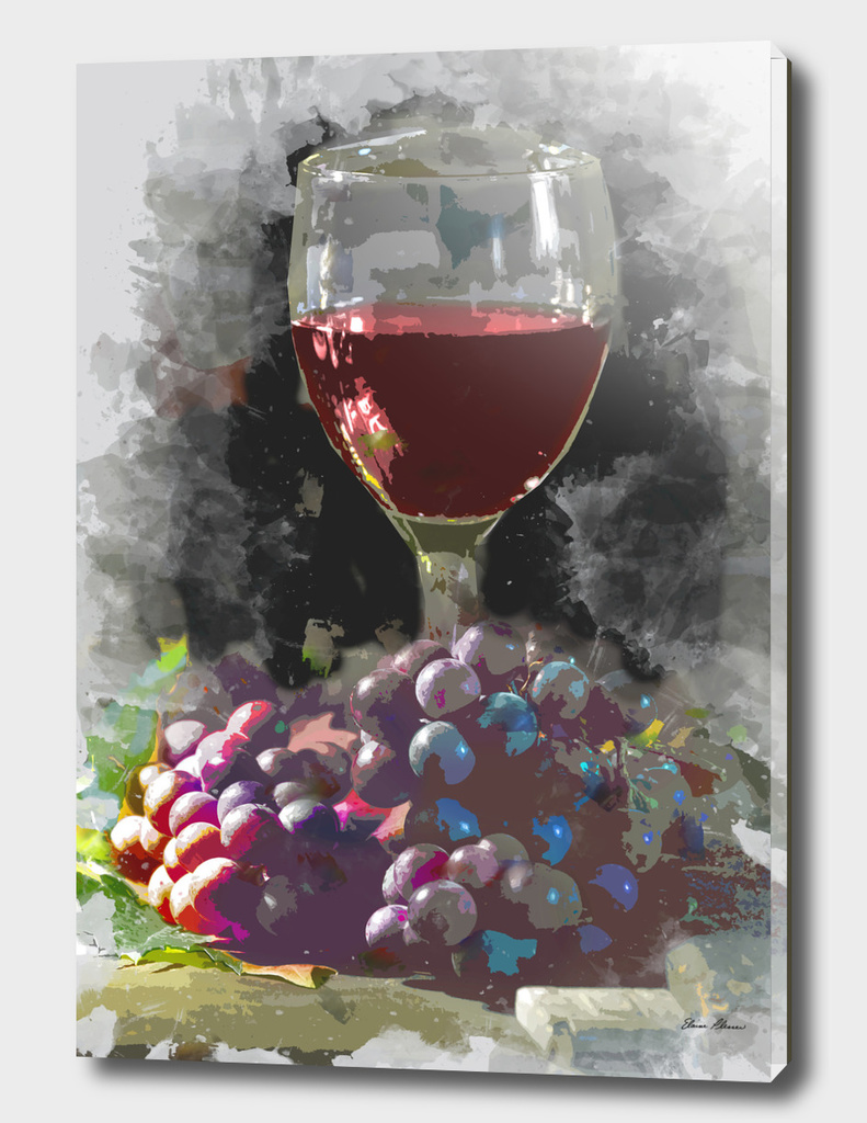 Glass of Wine and a Mound of Grapes in  Wine Cellar