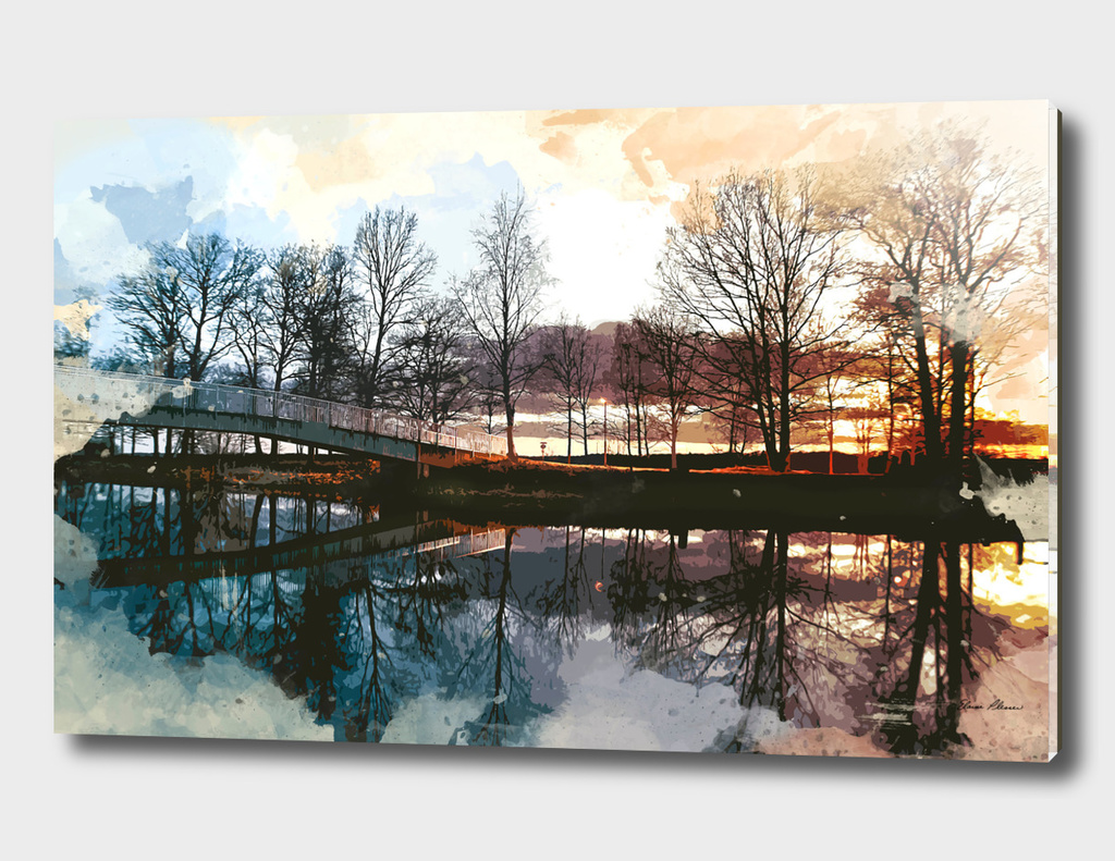 Water Color of Sunset at the Footpath Over the Lake
