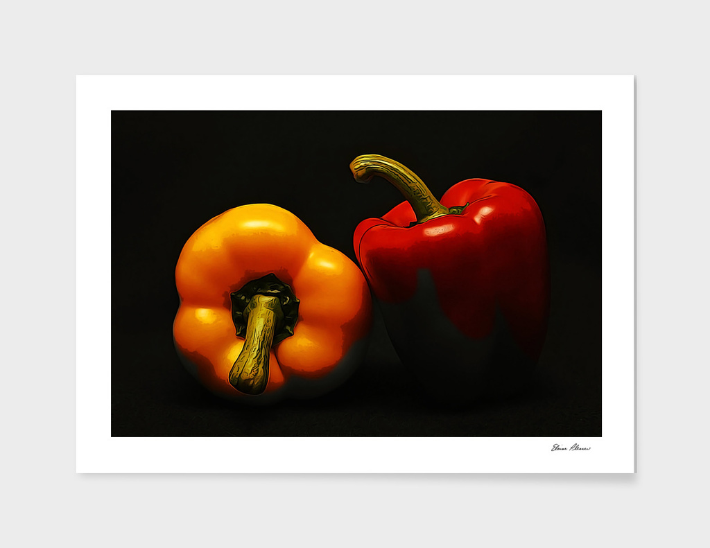 Red and Yellow Bell Peppers in the Shadows