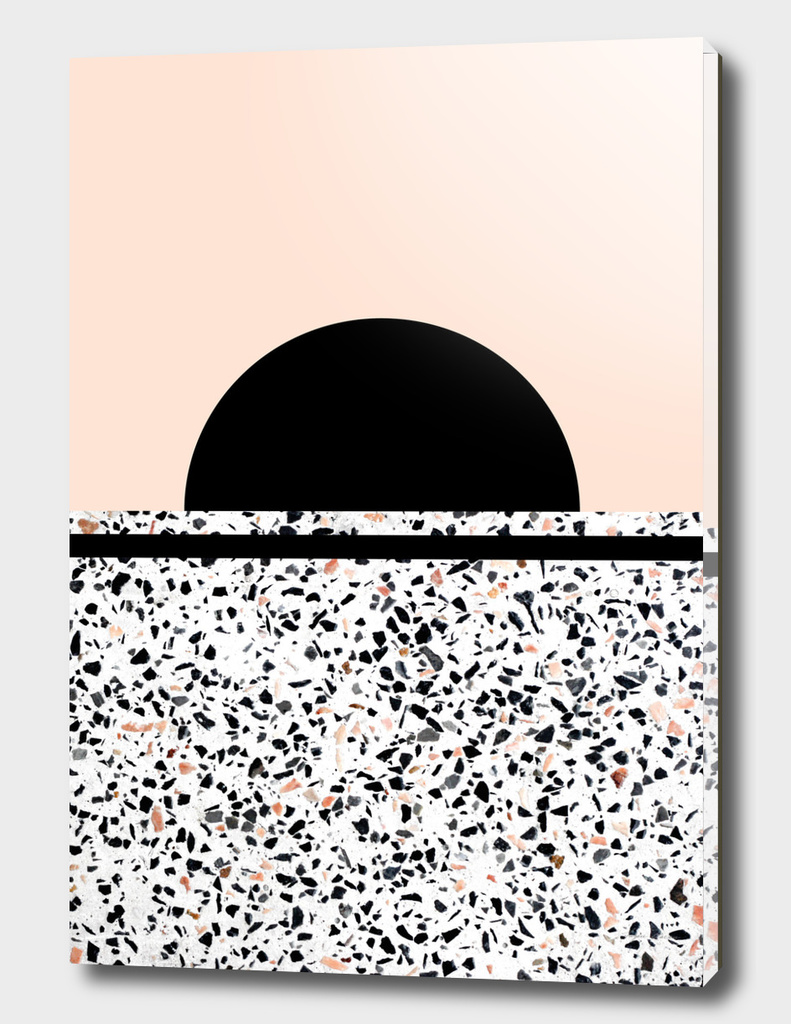 Abstract Terrazzo Stone Pattern Black and Orange Peach