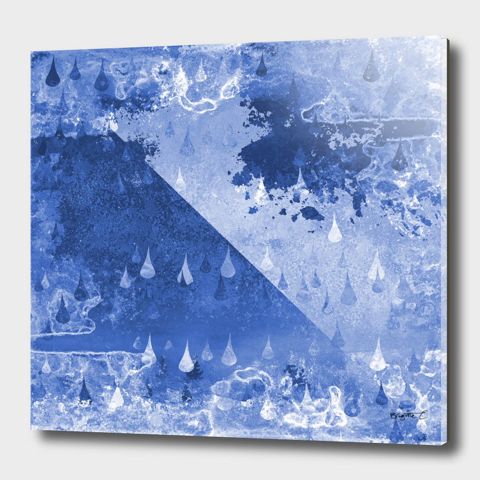 Abstract Blue RainDrops Design