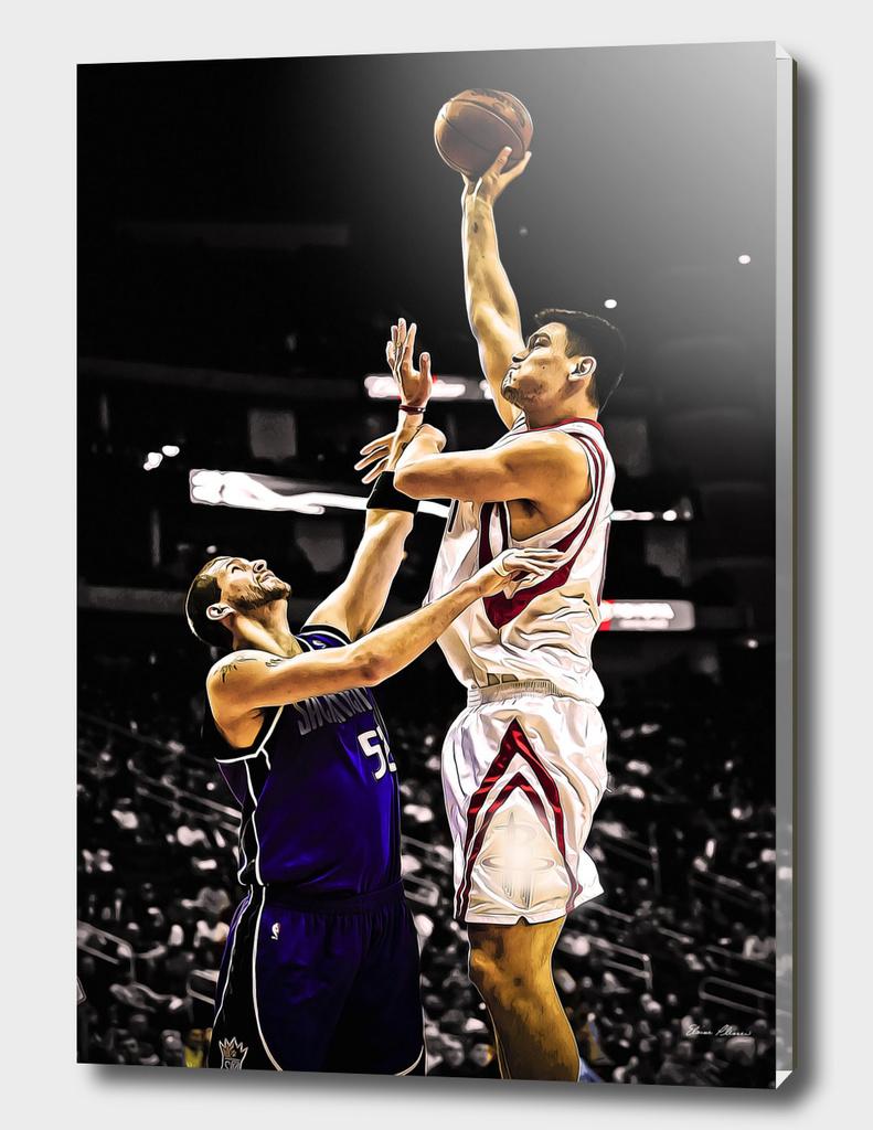 Attempt at Blocking Basketball Jump Shot