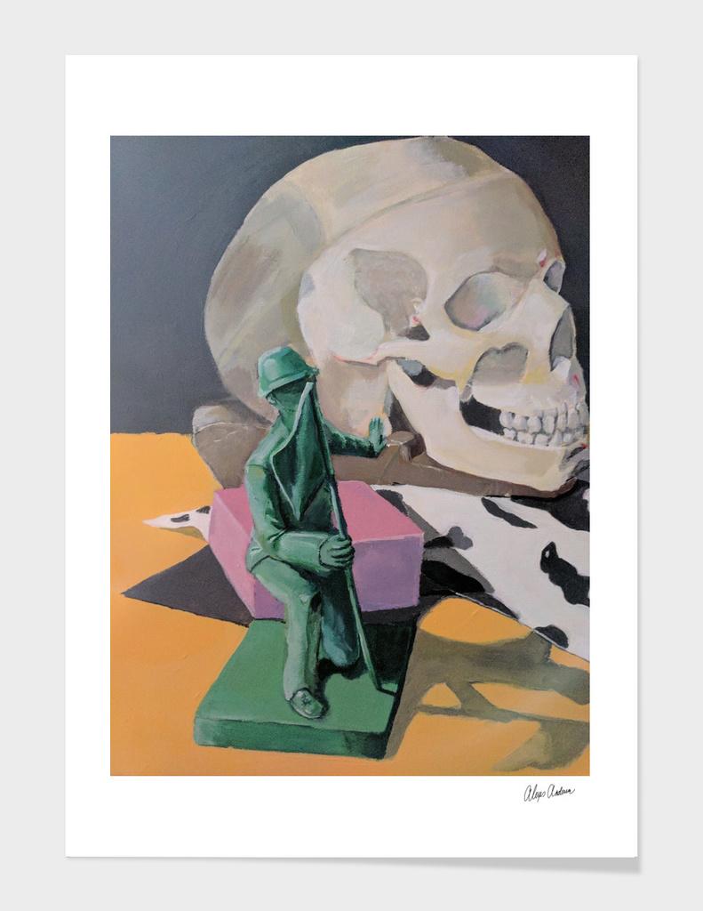 Green soldier skull