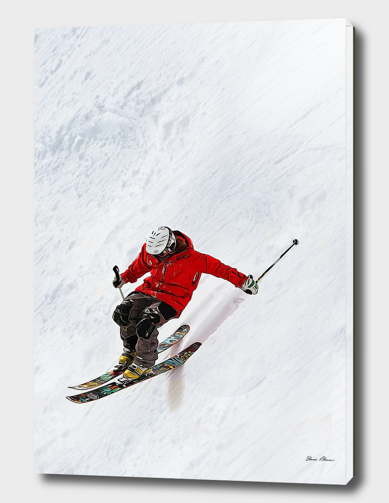 Daring Skier Flying Down a Steep Slope