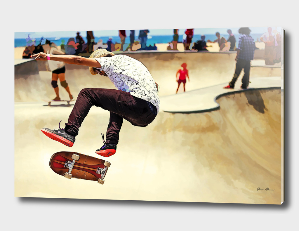 Summer Concrete Skate Board Park at the Beach
