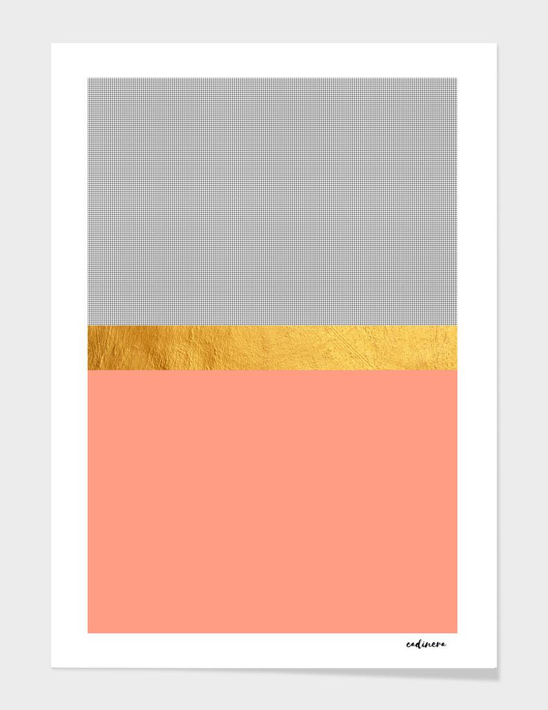 Minimalist Fashion Peach Pink + Gold + Squares