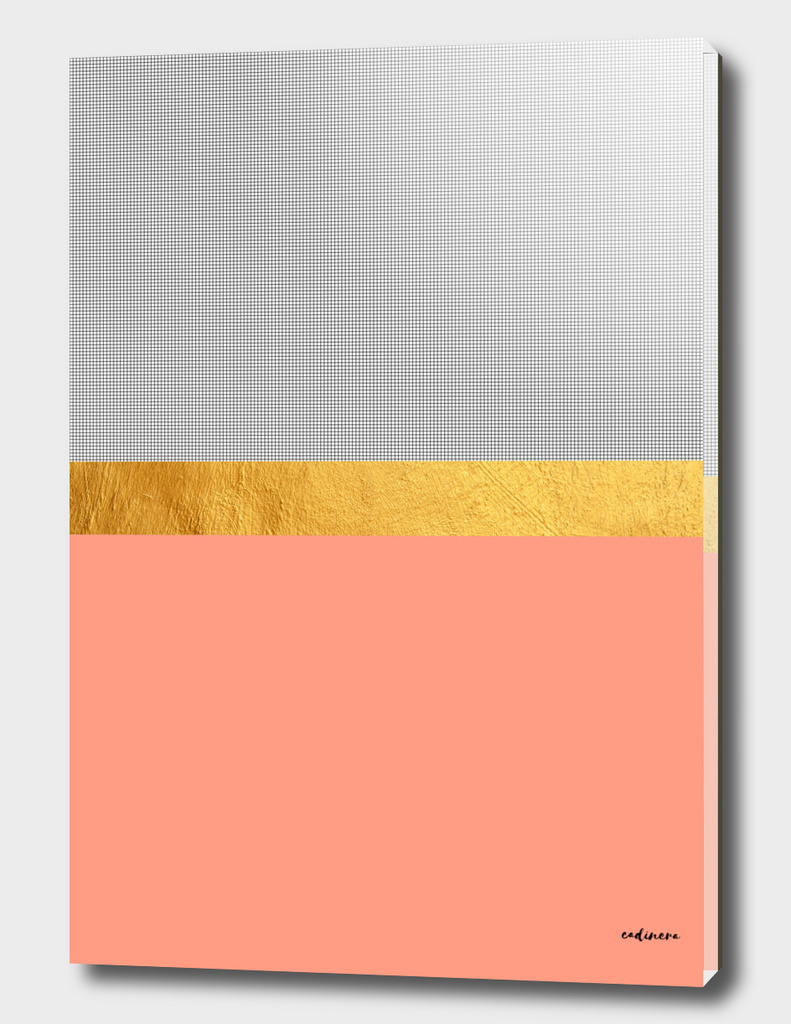 Minimalist Fashion Peach Pink + Gold + Squares