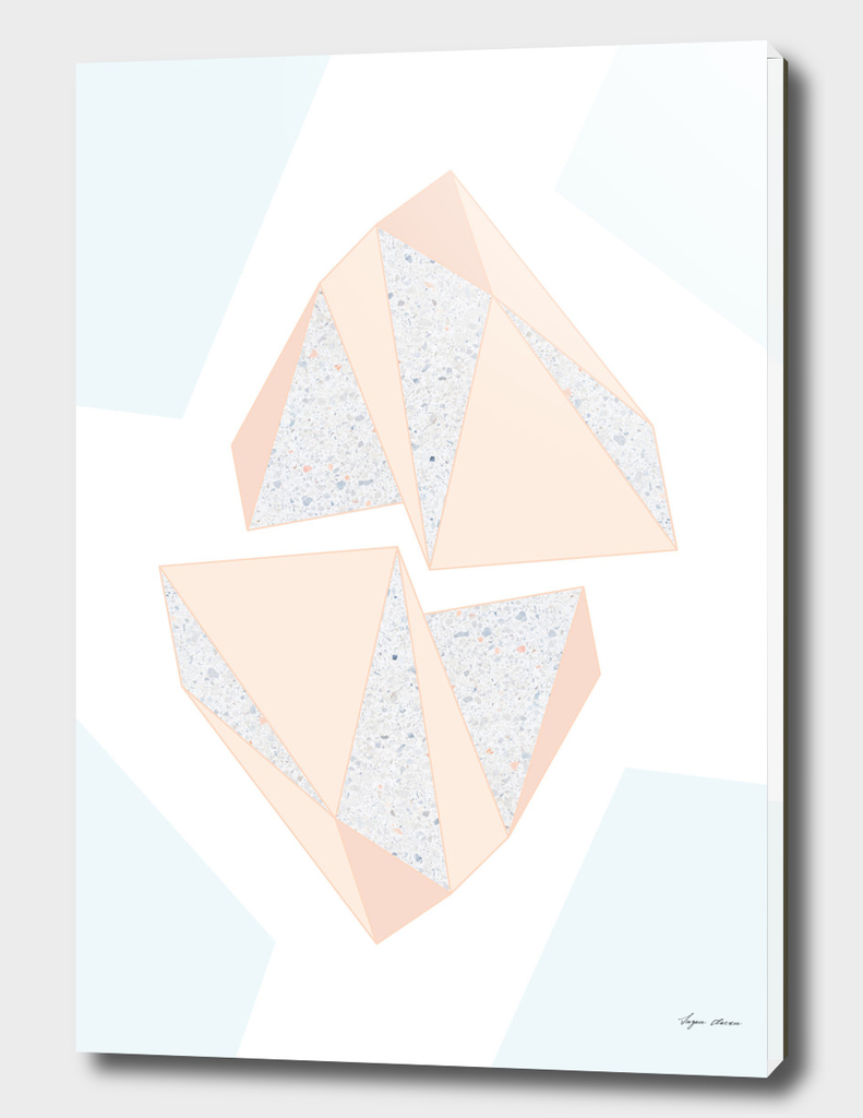 Abstract Geometric Iceberg Inspired with Terrazzo Pattern