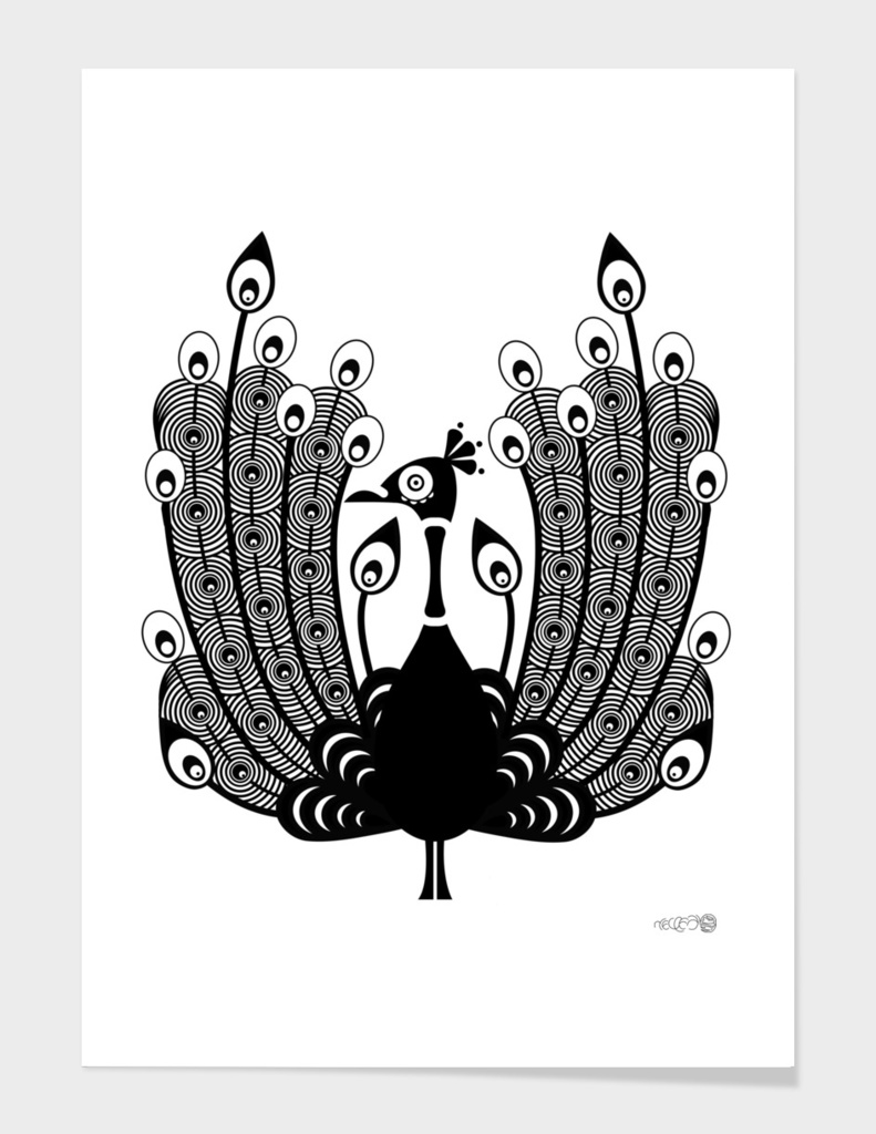 A colorless peacock