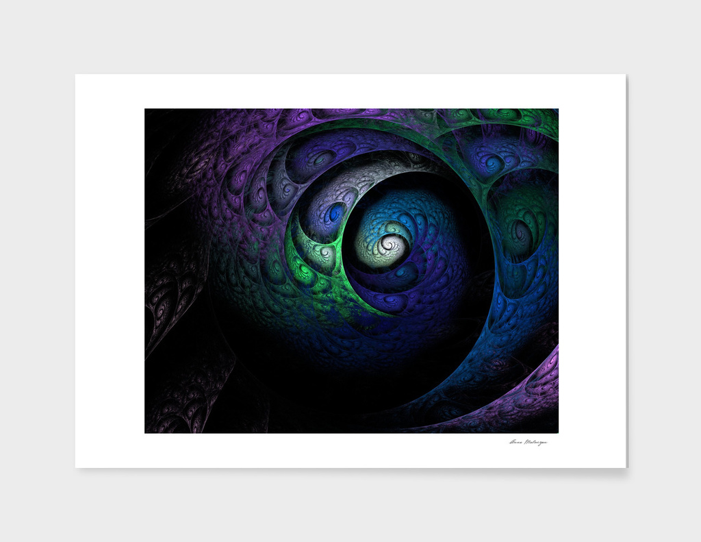 Multicolored spiral fractal picture on the dark
