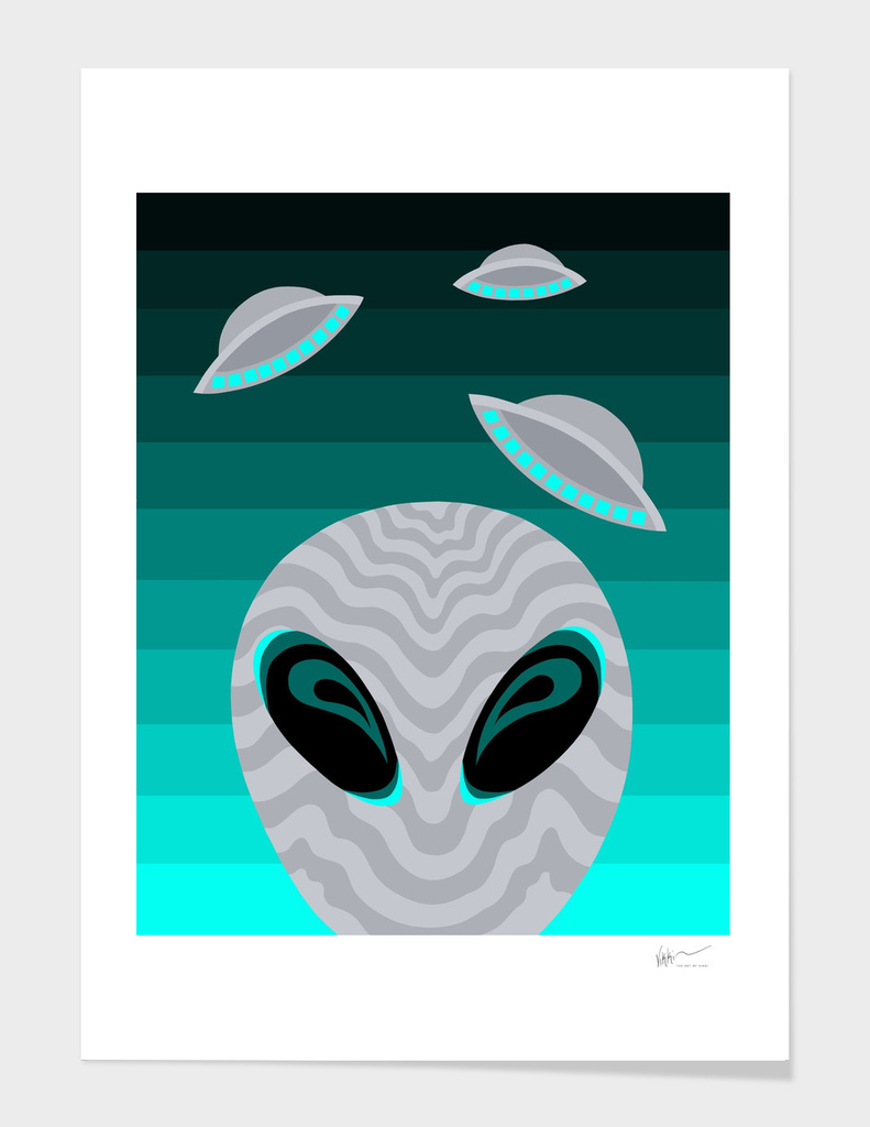 Alien Eyes And Visitors In Teal