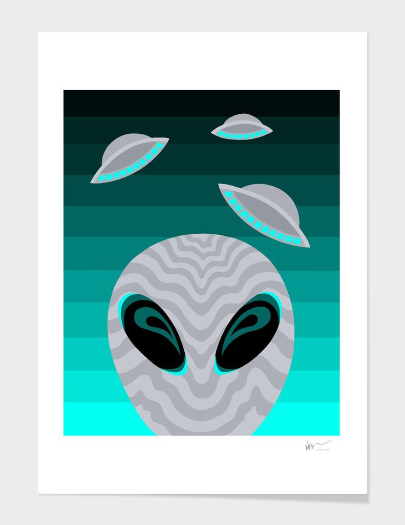 Alien Eyes And Visitors In Teal