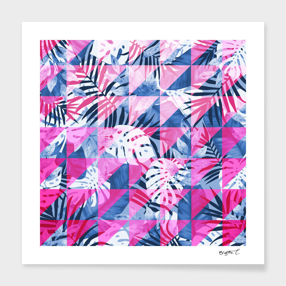 Abstract Hot Pink Geometric Tropical Design