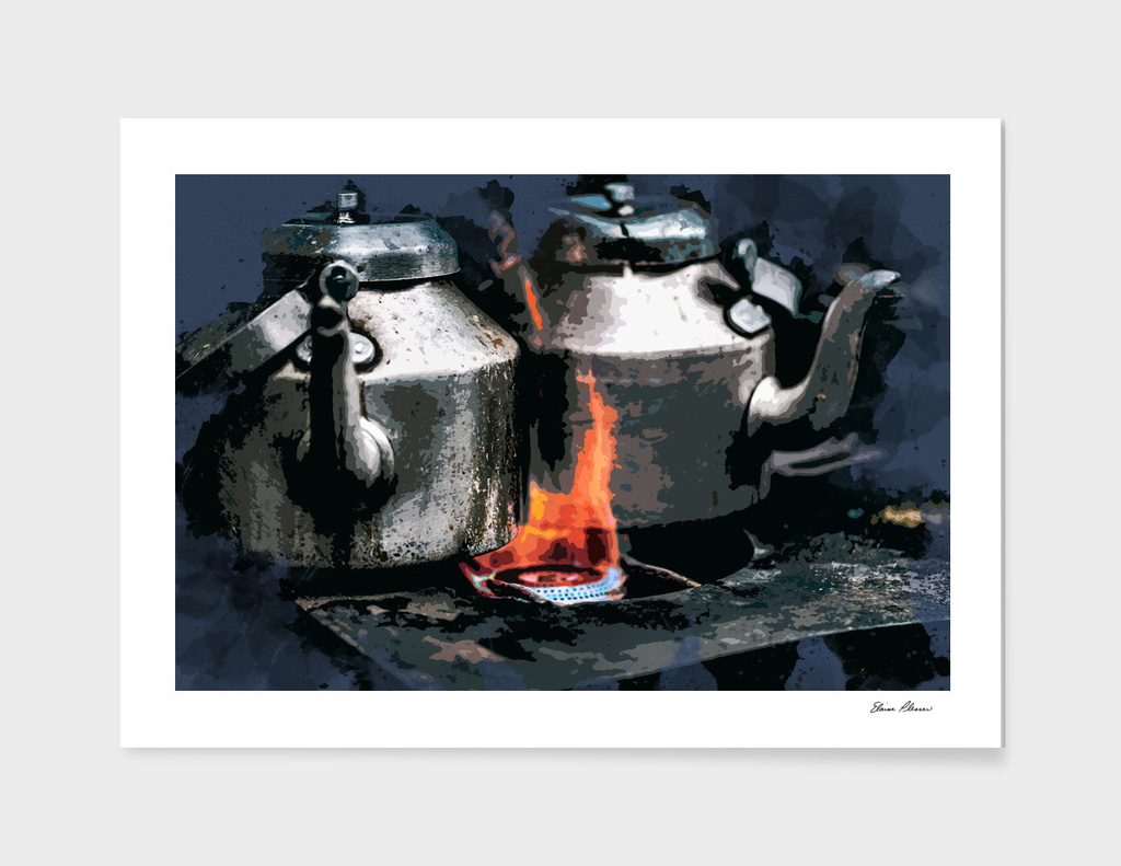 Coffee Pots Brewing on the Old Camp Stove