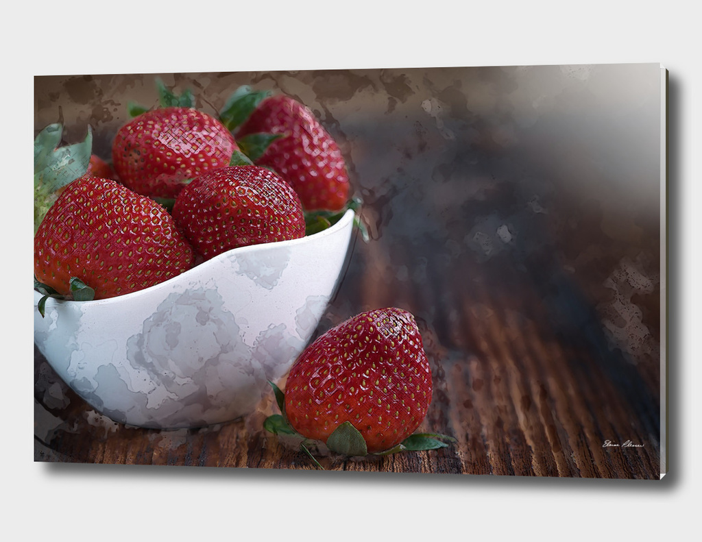 Watercolor White Bowl of Strawberries on Wooden Table