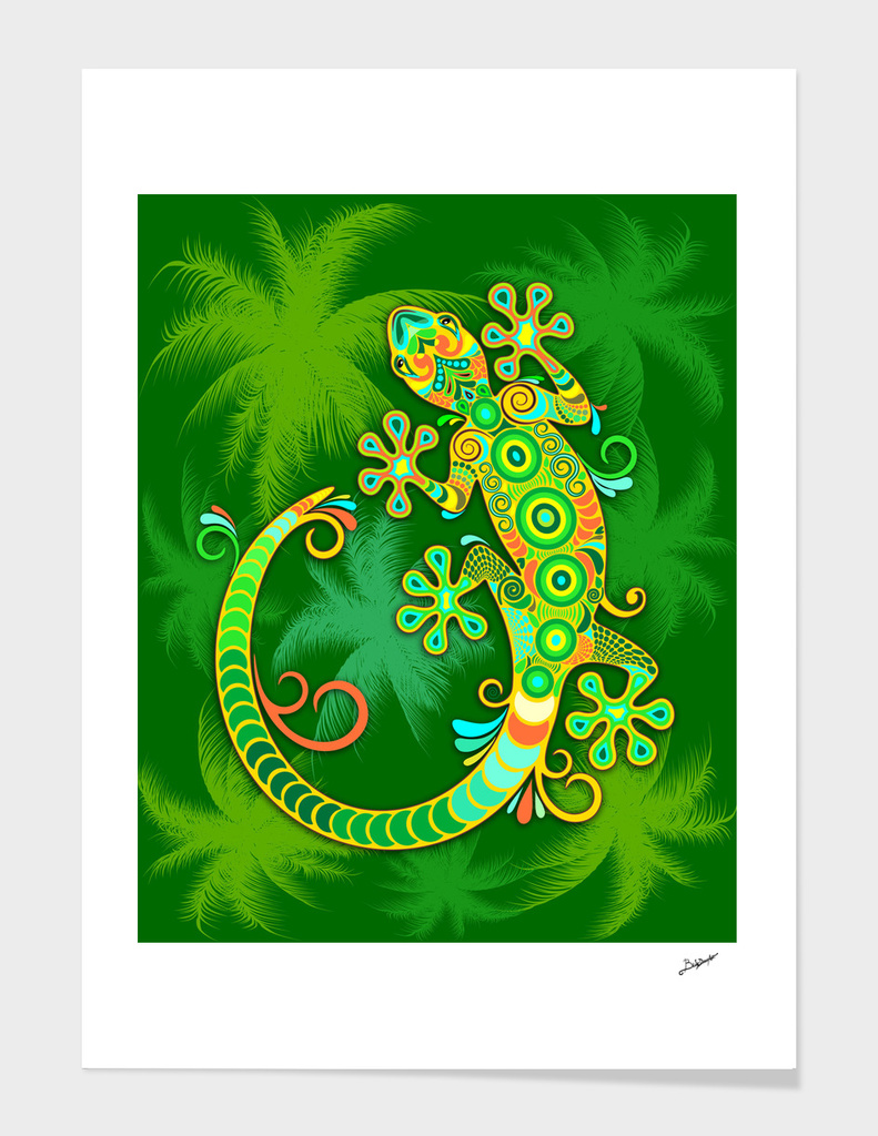 Gecko Lizard Colorful Tattoo Style