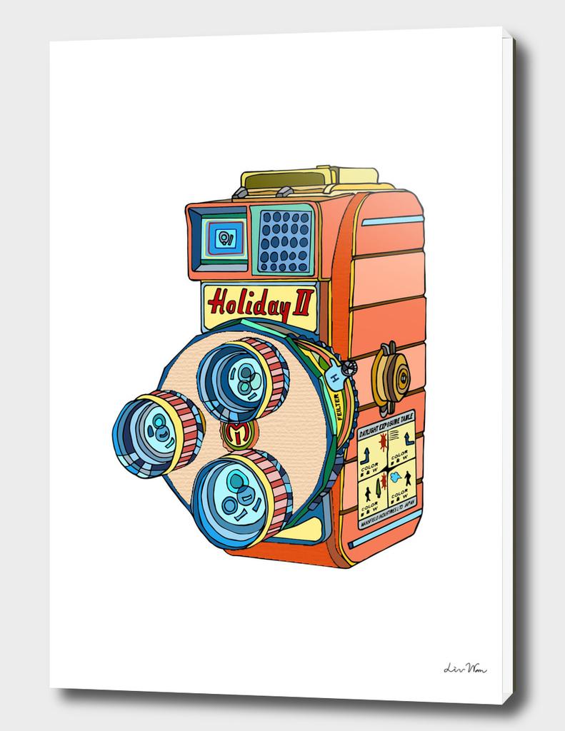 Holiday-II Retro Camera Illustration
