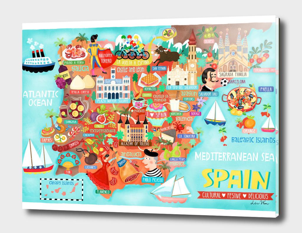 Spain Map Illustration Wall Art