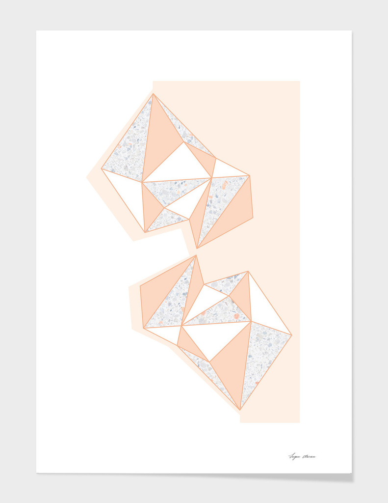 Geometric Nude Color Terrazzo Abstract Design