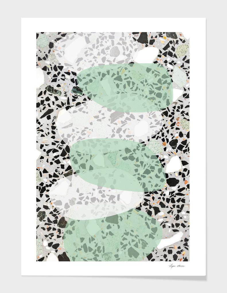 Terrazzo Abstract Design Mint Green & White