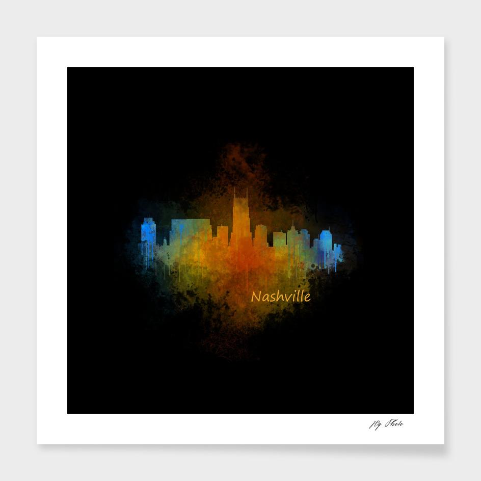 Dark Nashville City Skyline Tennessee watercolor V4