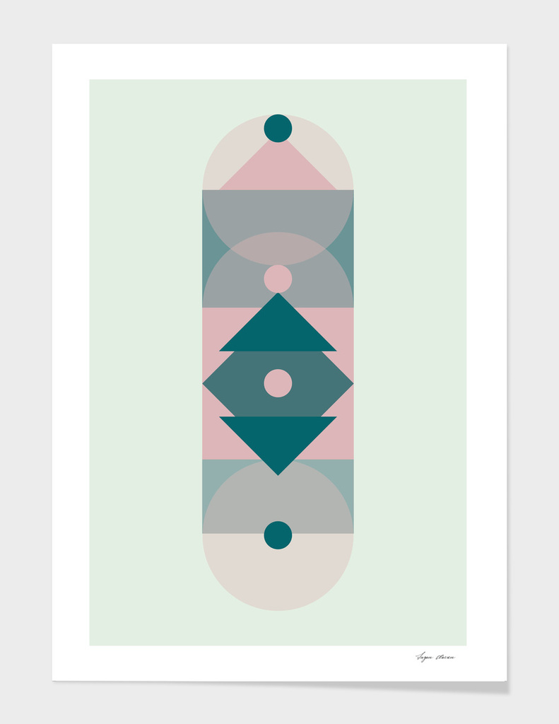 Nr. 2 Abstract Totem Pole Blush Pink and Green
