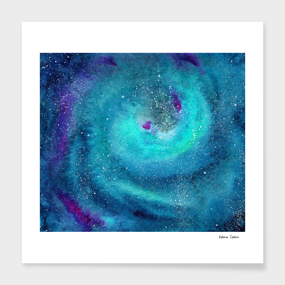 Emerald galaxy || watercolor