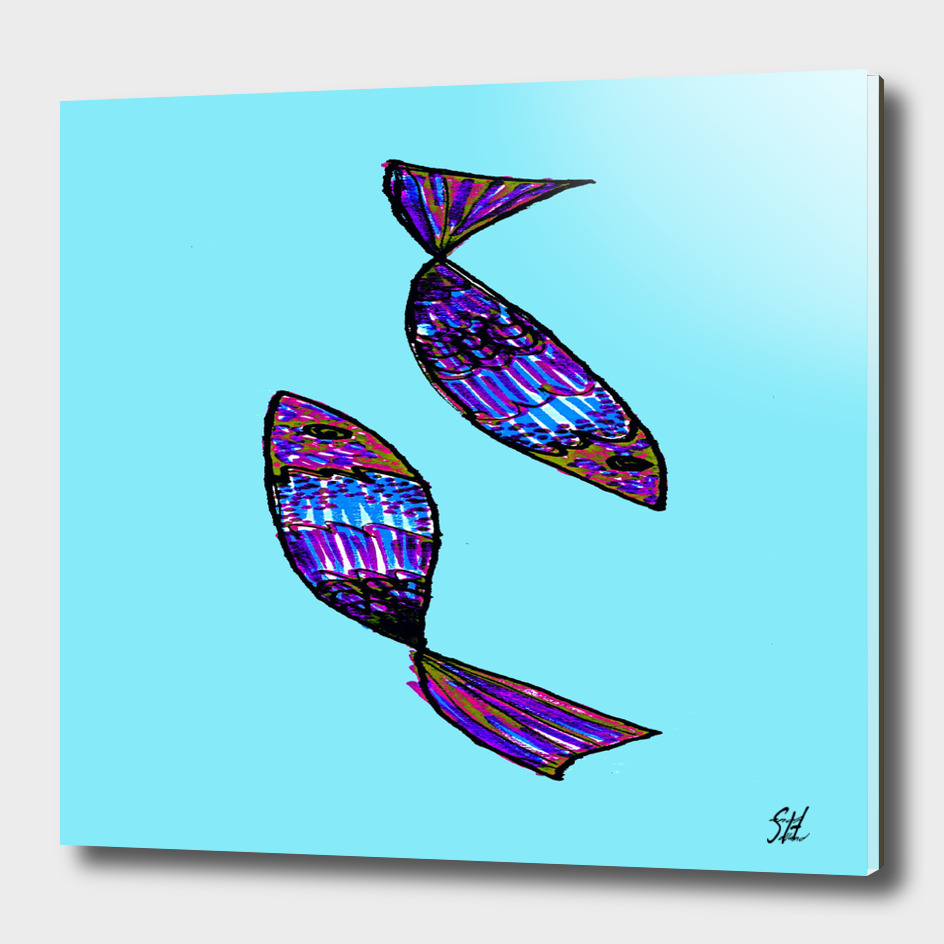 Jeweled Fishes I ~ Turquoise Sea