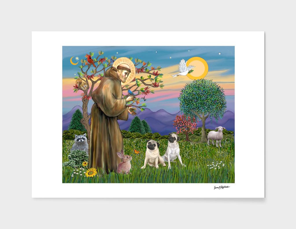Saint Francis Blesses Two Pugs