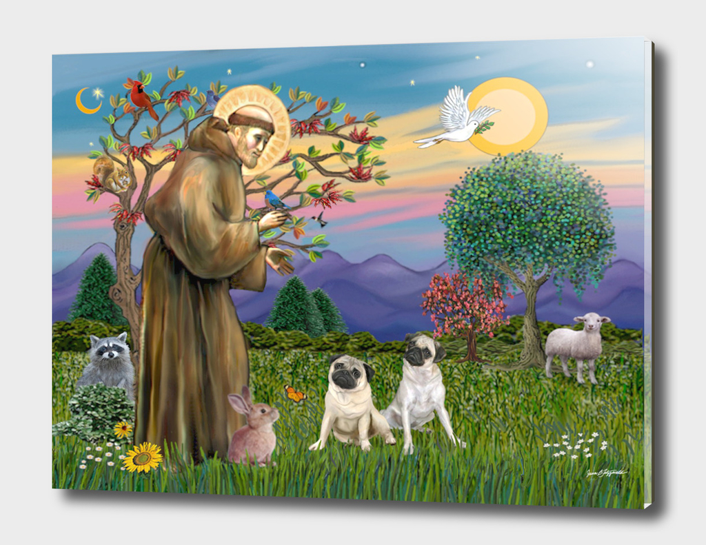 Saint Francis Blesses Two Pugs