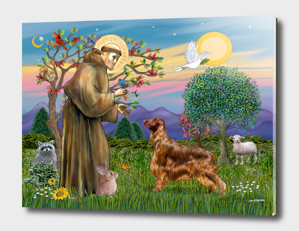 Saint Francis Blesses an Irish Setter