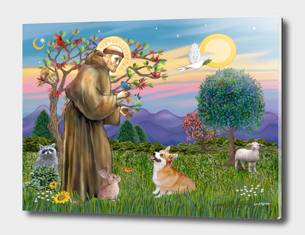 Saint Francis Blesses a Welsh Corgi